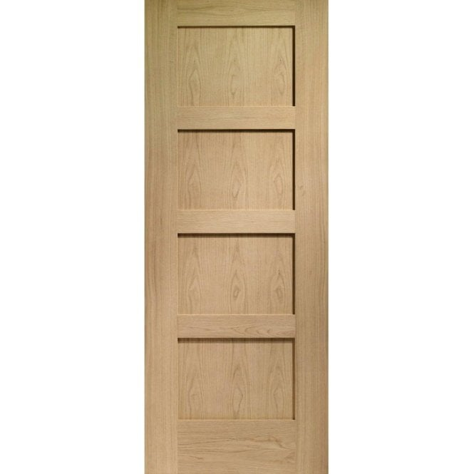 XL Joinery Internal Pre-Finished Oak Shaker 4 Panelled Fire Door