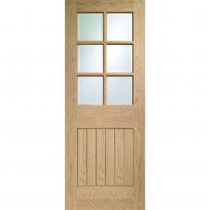 Internal Pre-Finished Oak Suffolk Door with Clear Bevelled Glass