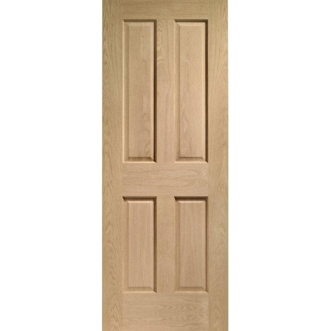 XL Joinery Internal Pre-Finished Oak Victorian 4 Panel Fire Door with non Raised Mouldings