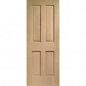 Internal Pre-Finished Oak Victorian 4 Panel Fire Door with non Raised Mouldings