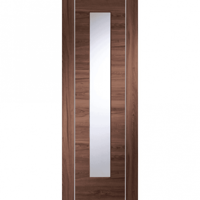 XL Joinery Internal Pre-Finished Walnut Forli Door With Clear Glass