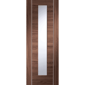 Internal Pre-Finished Walnut Forli Door With Clear Glass