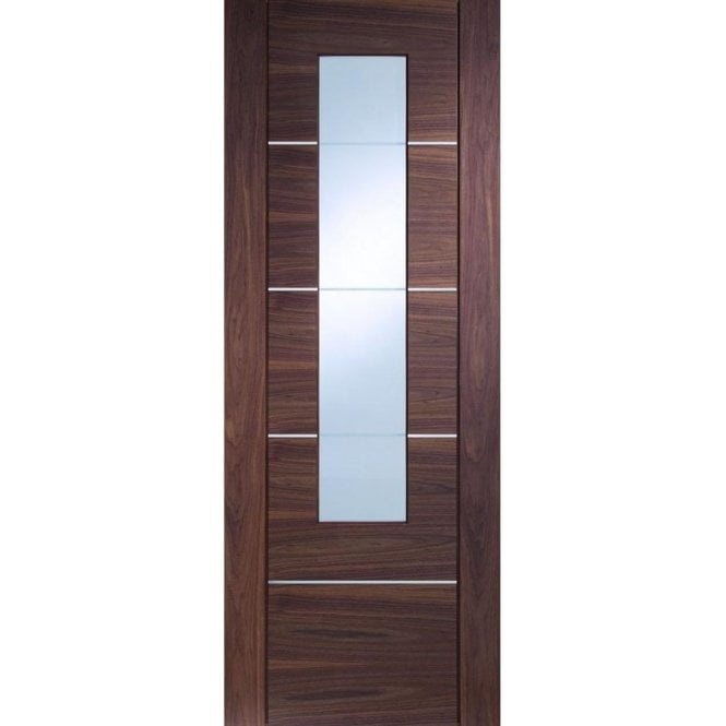 XL Joinery Internal Pre-Finished Walnut Portici Door with Clear Etched Glass