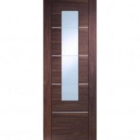 Internal Pre-Finished Walnut Portici Door with Clear Etched Glass