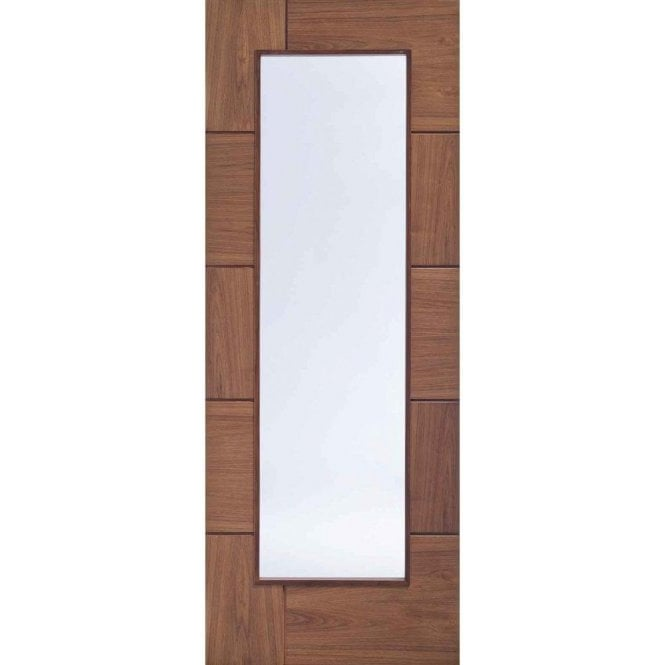 XL Joinery Internal Pre-Finished Walnut Ravenna Door with Clear Glass