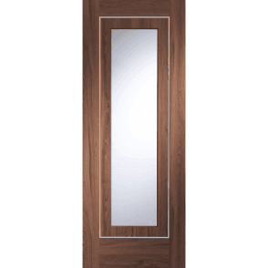 Internal Pre-Finished Walnut Varese Door With Clear Glass