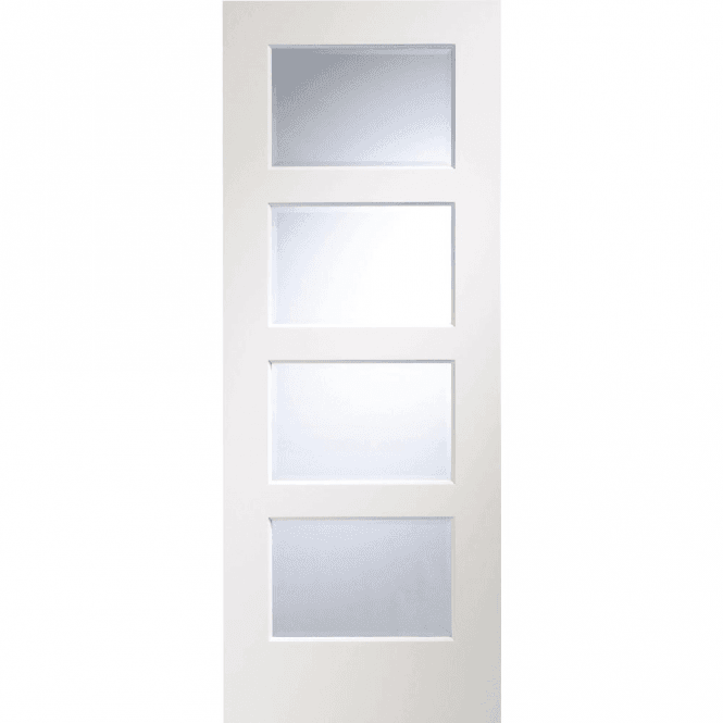 XL Joinery Internal Pre-Finished White Severo Door With Clear Bevelled Glass