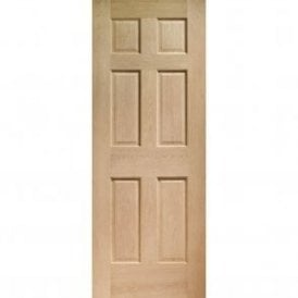 Internal Un-Finished Oak Colonial 6 Panel Fire Door with non Raised Mouldings