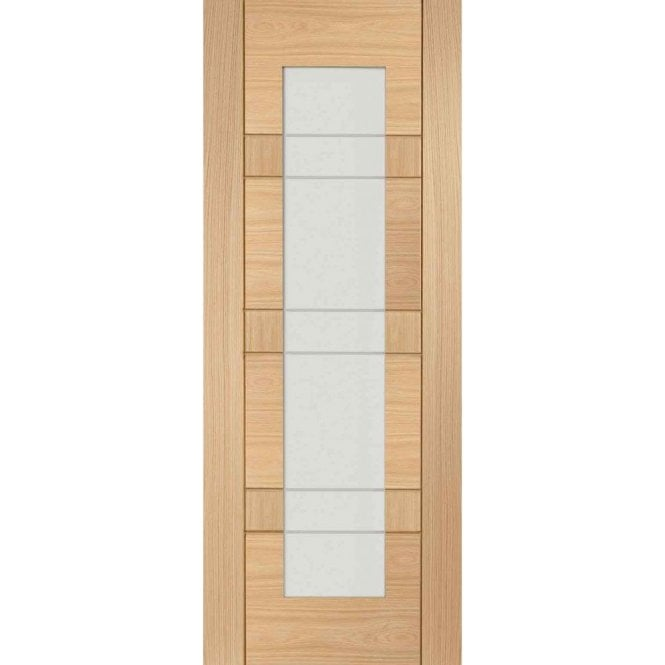 XL Joinery Internal Un-Finished Oak Latina Clear Etched Glass Door
