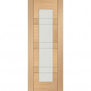 Internal Un-Finished Oak Latina Clear Etched Glass Door