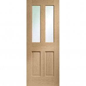 Internal Un-Finished Oak Malton Fire Door with Clear Glass and non Raised Mouldings