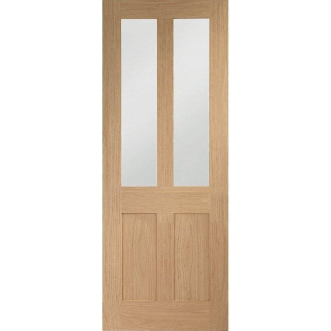 XL Joinery Internal Un-Finished Oak Malton Shaker Door with Clear Glass