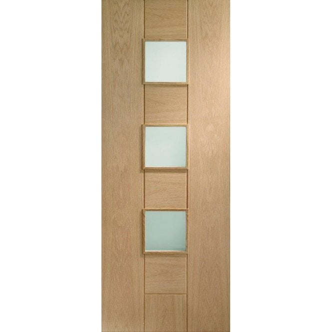 XL Joinery Internal Un-Finished Oak Messina Door with Obscure Glass