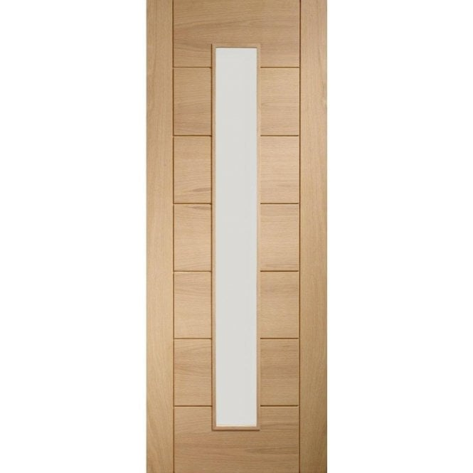 XL Joinery Internal Un-Finished Oak Palermo 1 Light Fire Door with Clear Glass