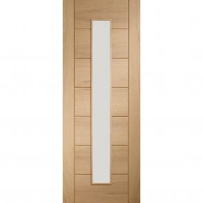 Internal Un-Finished Oak Palermo 1 Light Fire Door with Clear Glass