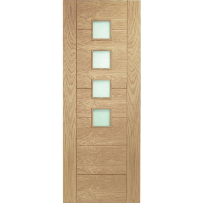 XL Joinery Internal Un-Finished Oak Palermo Door with Obscure Glass