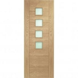 Internal Un-Finished Oak Palermo Fire Door with Obscure Glass