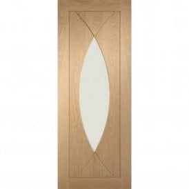 Internal Un-Finished Oak Pesaro Fire Door with Clear Glass