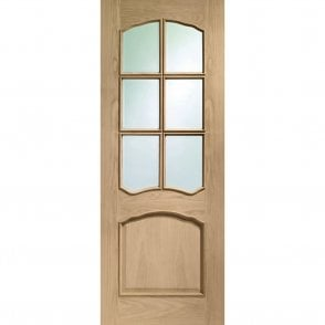 Internal Un-Finished Oak Riviera Door with Clear Bevelled Glass and Raised Mouldings