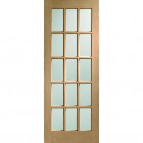 Internal Un-Finished Oak SA77 Door with Clear Bevelled Glass