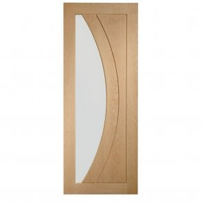 Internal Un-Finished Oak Salerno Door with Clear Glass