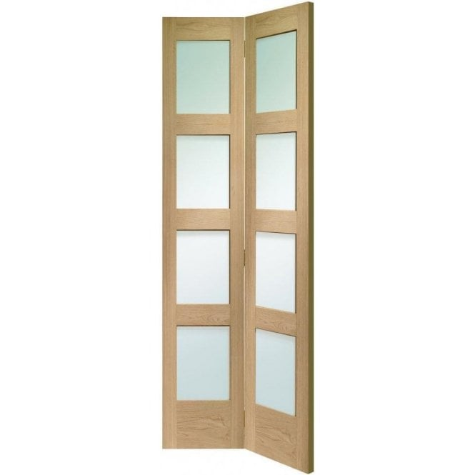 XL Joinery Internal Un-Finished Oak Shaker 4 Panel Bi-Fold Door with Clear Glass