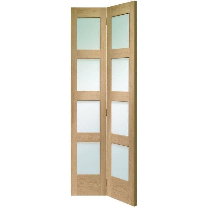 XL Joinery Internal Un-Finished Oak Shaker 4 Panel Bi-Fold Door with Clear Glass