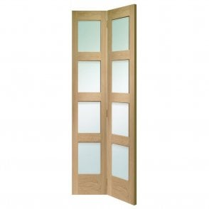 Internal Un-Finished Oak Shaker 4 Panel Bi-Fold Door with Clear Glass