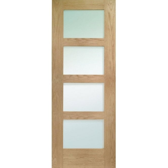 XL Joinery Internal Un-Finished Oak Shaker 4 Panel Fire Door with Obscure Glass