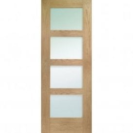 Internal Un-Finished Oak Shaker 4 Panel Fire Door with Obscure Glass