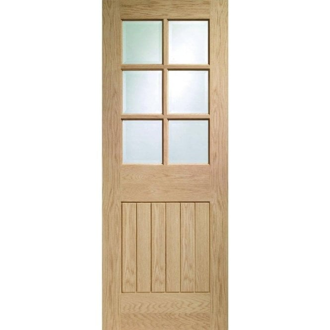XL Joinery Internal Un-Finished Oak Suffolk 6 Light Fire Door with Clear Glass