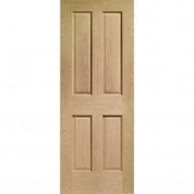 Internal Un-Finished Oak Victorian 4 Panel Fire Door with non Raised Mouldings