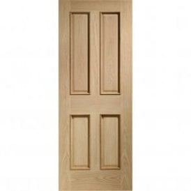 Internal Un-Finished Oak Victorian 4 Panel Fire Door with Raised Mouldings