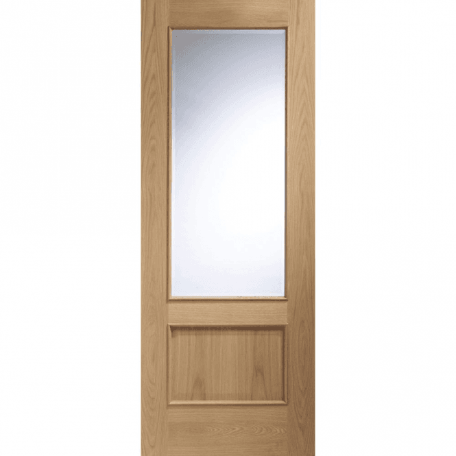 XL Joinery Internal Unfinished Oak Andria Door With Clear Bevelled Glass