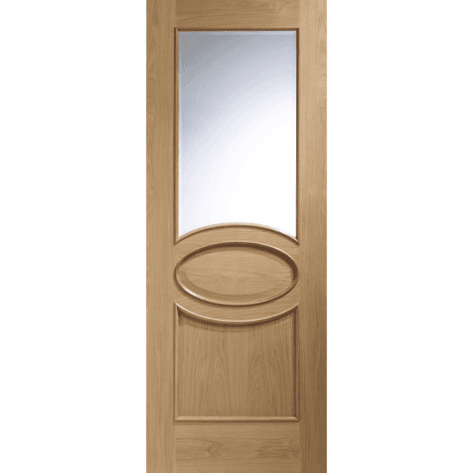 XL Joinery Internal Unfinished Oak Calabria Door With Clear Bevelled Glass