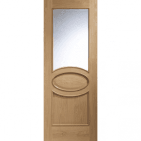 Internal Unfinished Oak Calabria Door With Clear Bevelled Glass