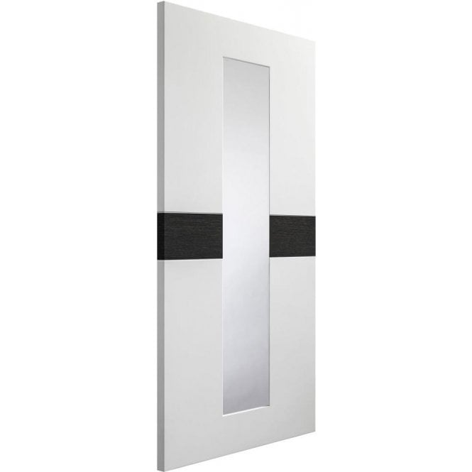 XL Joinery Internal White & Dark Grey Pre-Finished Asti Door with Clear Glass