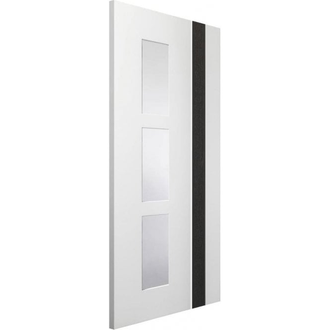 XL Joinery Internal White & Dark Grey Pre-Finished Praiano Door with Clear Glass