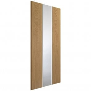 Internal White & Oak Pre-Finished Pescara Door with Obscure Glass