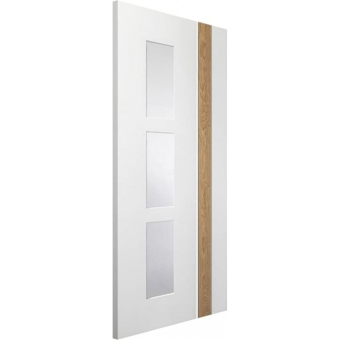 XL Joinery Internal White & Oak Pre-Finished Praiano Door with Clear Glass