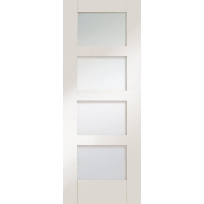 XL Joinery Internal White Primed Shaker 4 Panel Door with Clear Glass