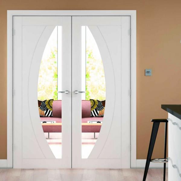 Xl Joinery Internal Oak Salerno Pair Clear Glass Doors Gw Leaders