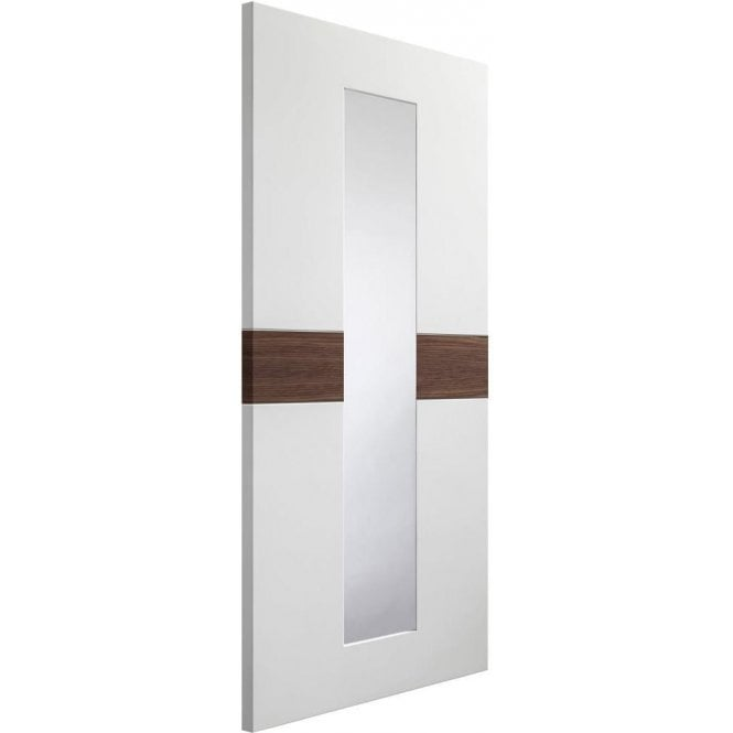 XL Joinery Internal White & Walnut Pre-Finished Asti Door with Clear Glass