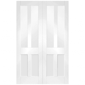 Malton Shaker Internal White Primed Pair Door With Clear Glass