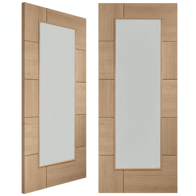XL Joinery Ravenna Unfinished Oak Pair Door with Clear Glass
