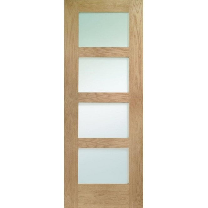 XL Joinery Shaker Unfinished Internal Oak 4 Panel Fire Door With Clear Glass