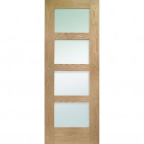 Shaker Unfinished Internal Oak 4 Panel Fire Door With Clear Glass