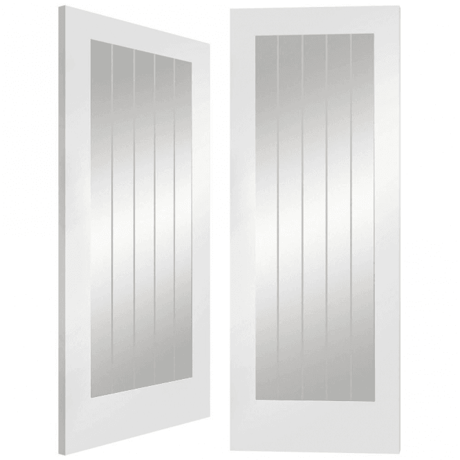 XL Joinery Suffolk Internal White Primed Pair Door With Clear Etched Glass