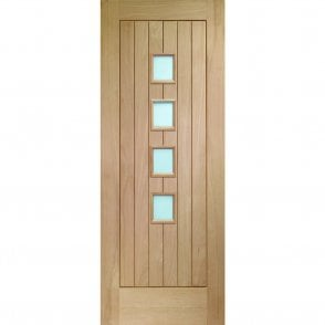 Un-finished Internal Oak Suffolk Door With Obscure Glass