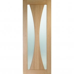 Verona Un-finished Internal Oak Fire Door with Clear Glass